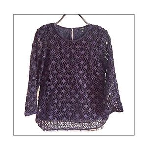 Ann Taylor Crochet Netting Overlay Top with Lining